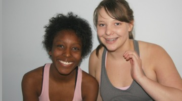 Two teens in the teen yoga teacher training