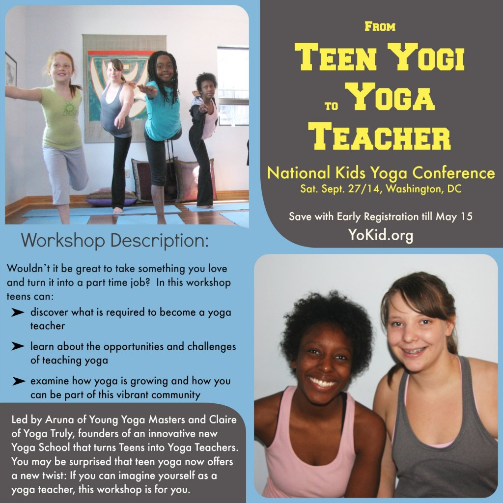 presenting the workshop called from teen yogi to yoga teacher at the national kids yoga conference in Washington DC