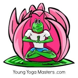 the logo for Young Yoga Master kids yoga teacher training has a frog meditating in a lotus flower.